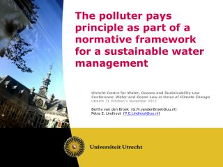 The  polluter pays principle as part of a normative framework for a sustainable  water management