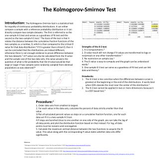 The Kolmogorov-Smirnov Test