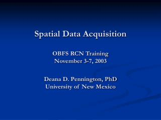 Sources of Spatial Data