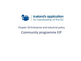 Chapter 20 Enterprise and industrial policy Community programme EIP
