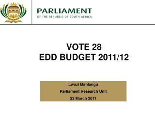 VOTE 28 EDD BUDGET 2011/12
