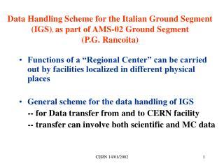 AMS-02  Italian Ground Segment Scheme