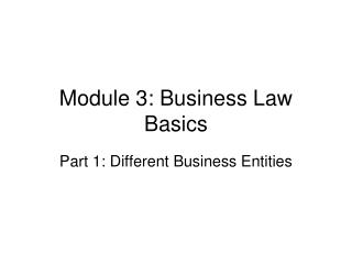 Module 3: Business Law Basics