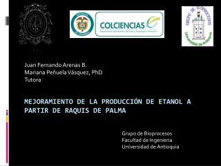 MEJORAMIENTO DE LA PRODUCCIÓN DE ETANOL A PARTIR DE RAQUIS DE PALMA