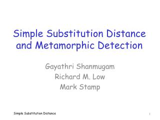 Simple Substitution Distance and Metamorphic Detection