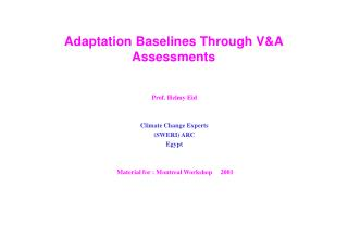 Adaptation Baselines Through V&A Assessments