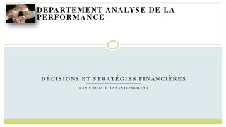 Departement  analyse de la performance