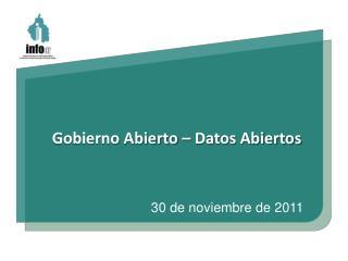 Gobierno Abierto – Datos Abiertos