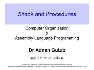 Stack and Procedures