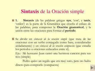 Sintaxis de la Oraci�n simple