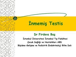 Dr Firdevs Baş İstanbul Üniversitesi İstanbul Tıp Fakültesi