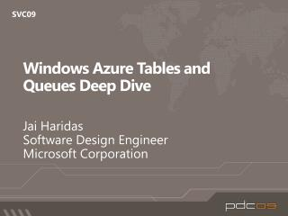 Windows Azure Tables and Queues Deep Dive