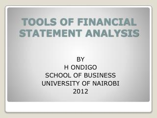 TOOLS OF FINANCIAL STATEMENT ANALYSIS