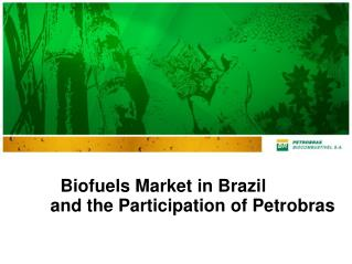 Biofuels Market in Brazil  and the Participation of Petrobras