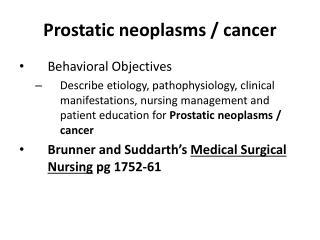 Prostatic neoplasms / cancer