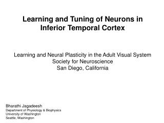 Learning and Tuning of Neurons in Inferior Temporal Cortex