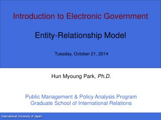 Introduction to Electronic Government Entity-Relationship Model Tuesday, October 21, 2014