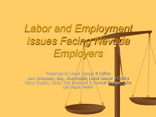 Labor and Employment Issues Facing Nevada Employers