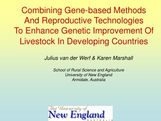 Combining Gene-based Methods  And Reproductive Technologies  To Enhance Genetic Improvement Of Livestock In Developing C