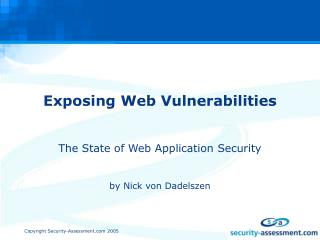 Exposing Web Vulnerabilities