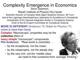 Complexity Emergence in Economics