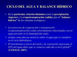 CICLO DEL AGUA Y BALANCE HÍDRICO