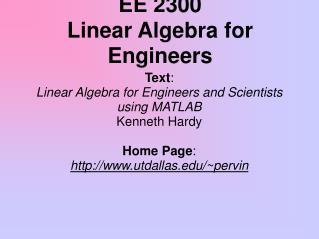 EE 2300 Linear Algebra for Engineers