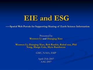EIE and ESG