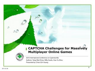 CAPTCHA Challenges for Massively Multiplayer Online Games