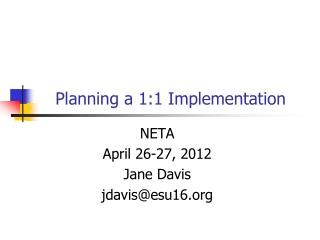 Planning a 1:1 Implementation