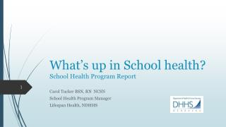 What's up in School health? School Health Program Report