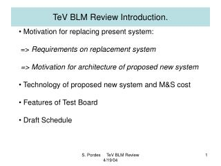 TeV BLM Review Introduction.