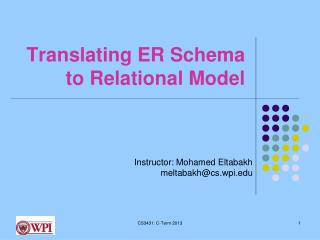 Translating ER Schema to Relational Model