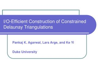 I/O-Efficient Construction of Constrained Delaunay Triangulations