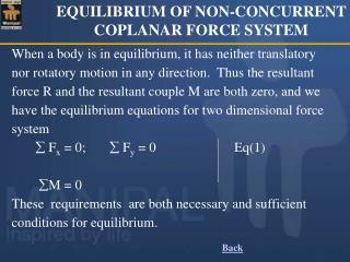 EQUILIBRIUM OF NON-CONCURRENT COPLANAR FORCE SYSTEM