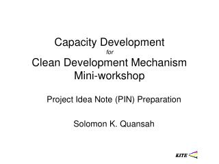 Capacity Development for Clean Development Mechanism Mini-workshop