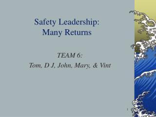 Safety Leadership:  Many Returns