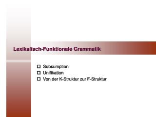 Lexikalisch-Funktionale Grammatik