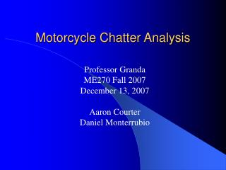 Motorcycle Chatter Analysis