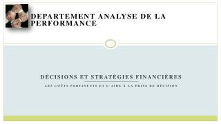 Departement  Analyse de la performance