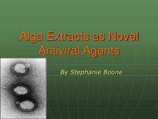 Alga Extracts as Novel Antiviral Agents