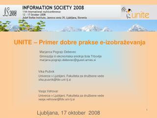 UNITE – Primer dobre prakse e-izobraževanja