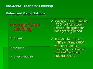ENGL113  Technical Writing Rules and Expectations