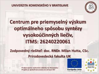 Zodpovedný riešiteľ : doc. RNDr .  Milan  Hutta , CSc. Prírodovedecká fakulta UK