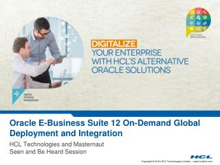 Oracle E-Business Suite 12 On-Demand  Global Deployment  and Integration