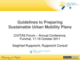 Guidelines to Preparing  Sustainable Urban Mobility Plans