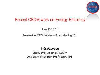 In�s Azevedo Executive Director, CEDM  Assistant Eesearch Professor, EPP