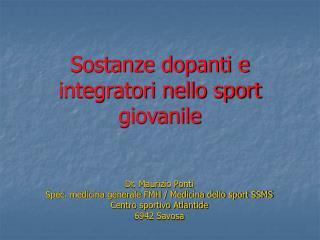 Sostanze dopanti e integratori nello sport giovanile
