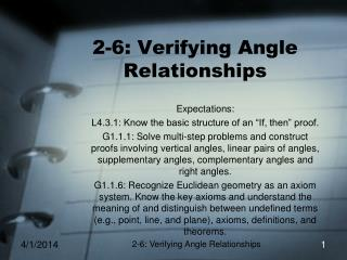 2-6: Verifying Angle Relationships
