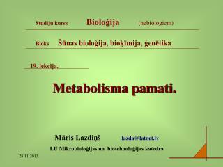 19. lekcija. Metabolisma pamati.